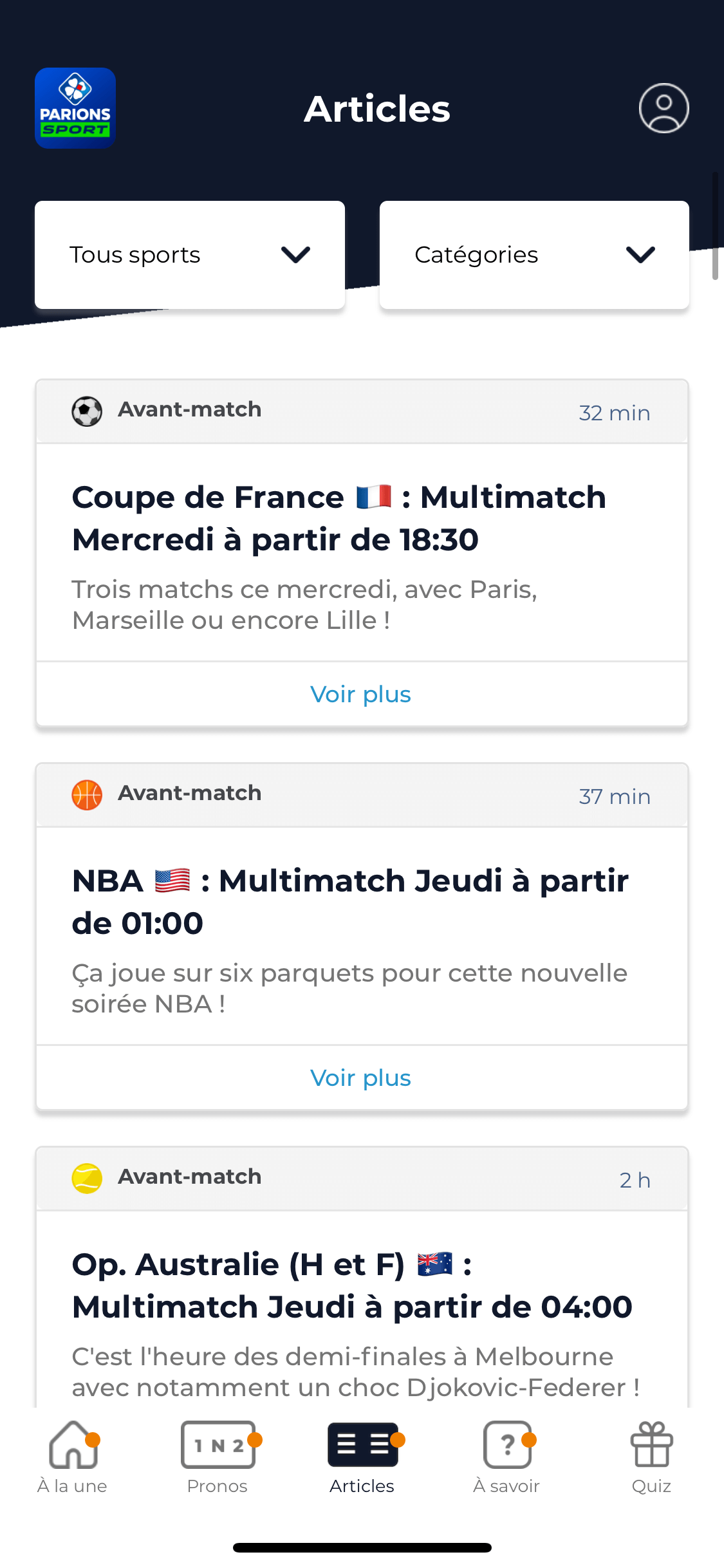 ParionsSport Pro feed application agence CREADS